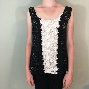 BKE Boutique Lined Lace Sleeveless Top, Sz Medium